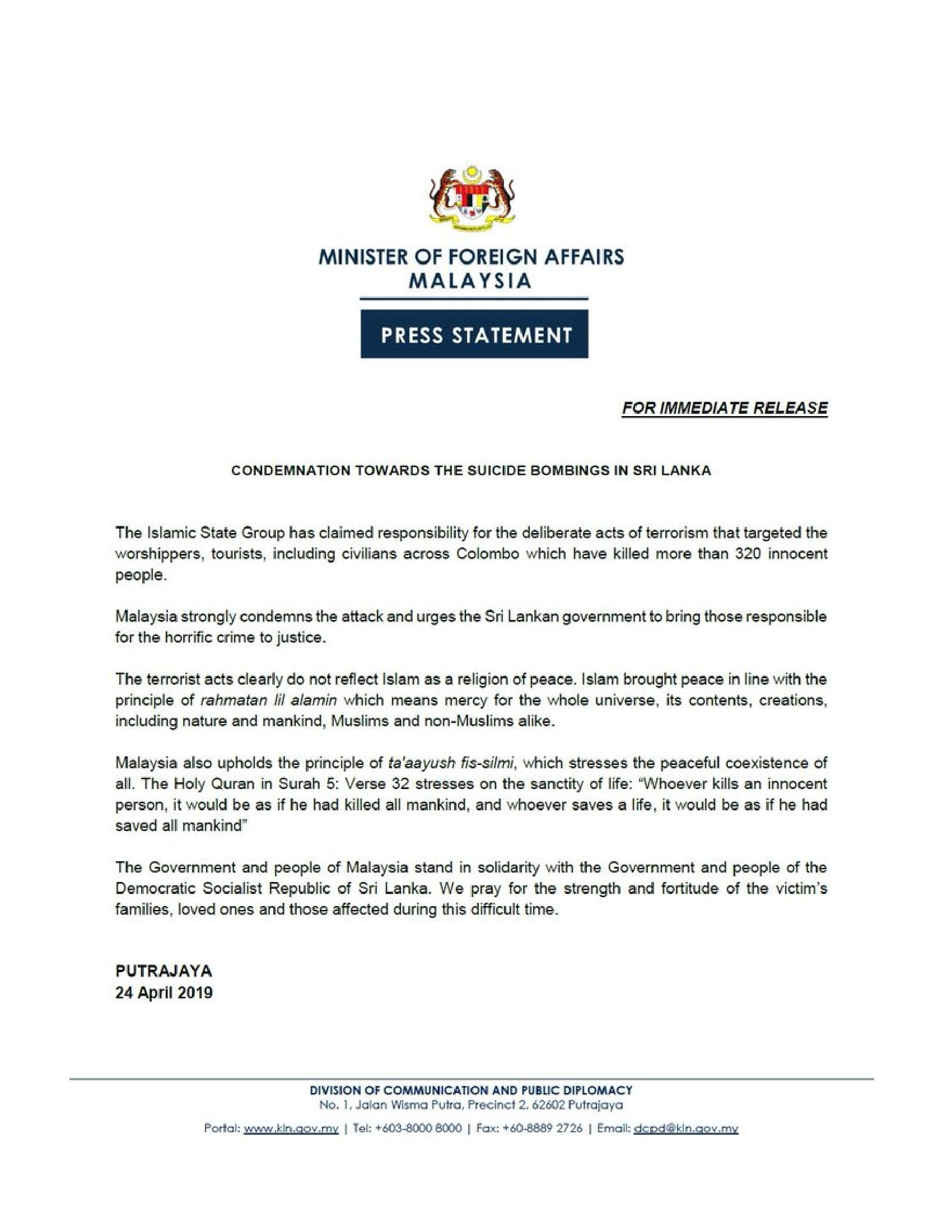 PRESS STATEMENT: Condemnation towards the Suicide Bombings